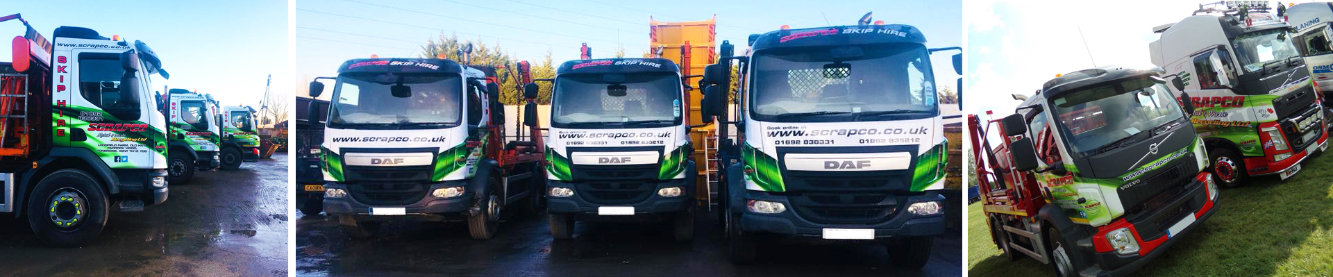 Scrapco Skip Hire Lorries at the transfer station in Paddock Wood