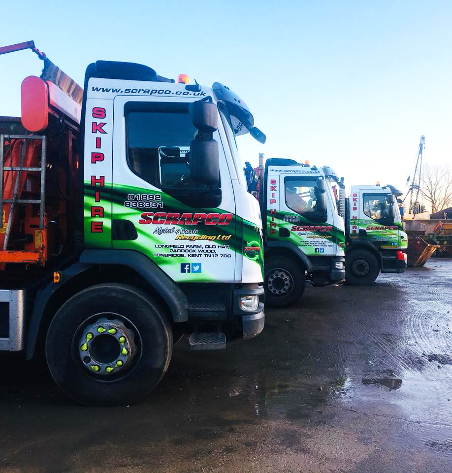 Scrapco Skip Hire Lorries at the yard in Paddock Wood